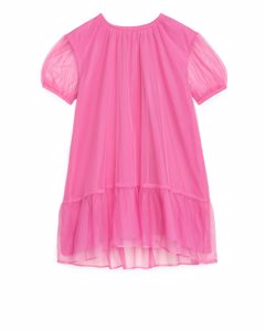 Ruffled Tulle Dress Pink