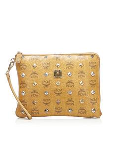 Mcm Visetos Studded Leather Clutch Bag Brown