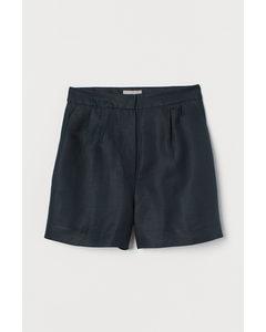 Shorts aus Leinenmix Petrol