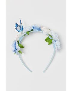 Diadeem Met Bloemen Lichtblauw/vlinder