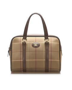 Burberry Plaid Canvas Handbag Brown