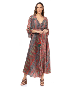 Long Printed Dress With Flared French Sleeves, Buttons And Elastic Waist