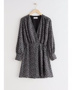Mini Wrap Dress Black Print
