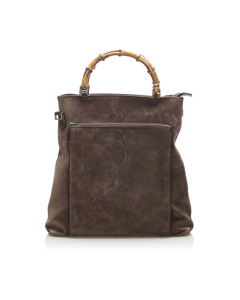 Gucci Bamboo Suede Satchel Brown