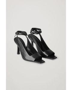Open Toe Leather Heels Black