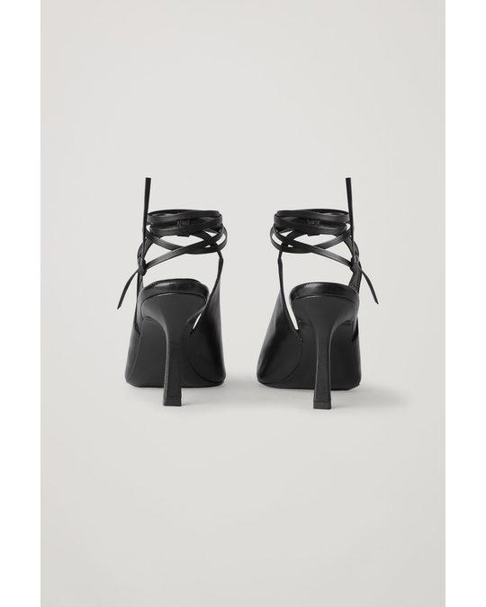COS Open Toe Leather Heels Black