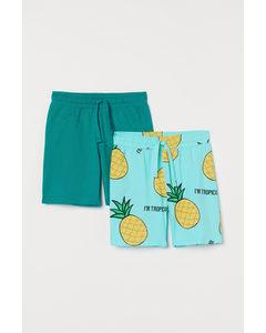 2er-Pack Jerseyshorts Türkis/Tropicool