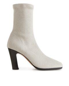 Linen Sock Boots Light Beige