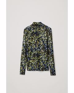 PRINTED ROLL NECK TOP black / green / white