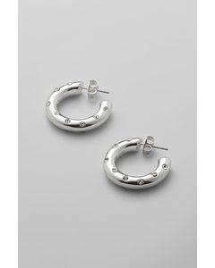 Chunky Rhinestone Hoop Silver