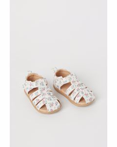 Sandaler Vit/blommig