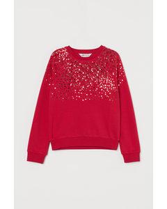 Sweatshirt Med Paljetter Röd