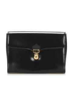 Ysl Leather Clutch Bag Black