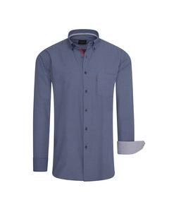 Cappuccino Italia Regular Fit Overhemd Navy Dotted Blauw
