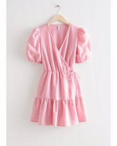 Puff Sleeve Mini Wrap Dress Pink