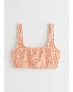 Ruched Square Neck Bikini Top Light Orange