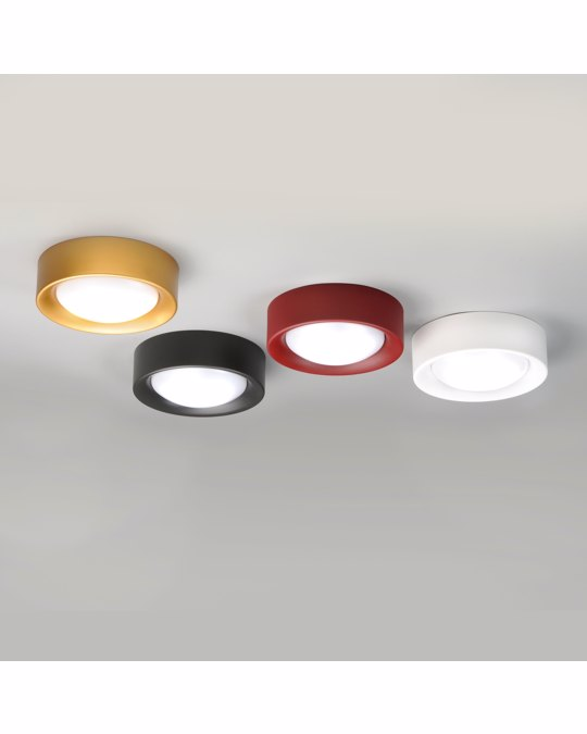MILAN ILUMINACIÓN Cilinder Geometrical Shape Matt White Steel Round Small Ceiling Light With Diffused Satin Glass Shad