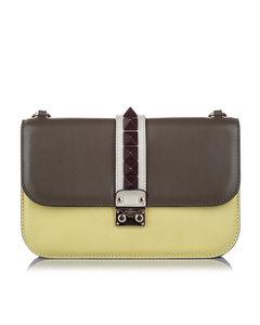 Valentino Rockstud Glam Lock Leather Crossbody Bag Gray