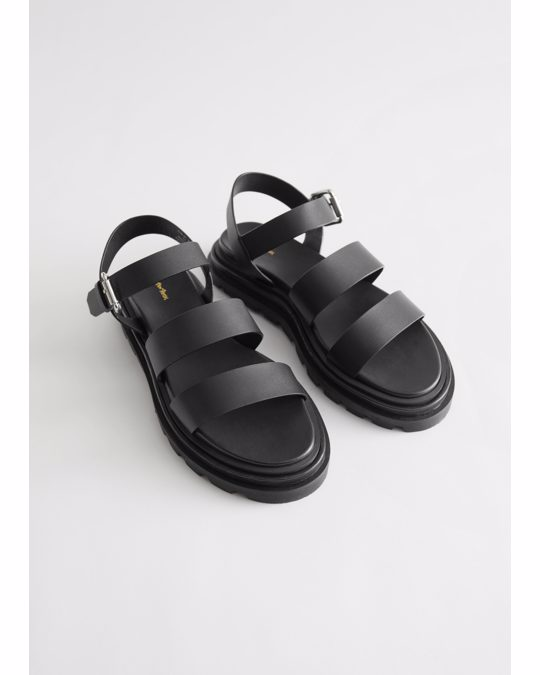 & Other Stories Chunky Sole Leather Sandals Black