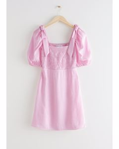 Fitted Puff Sleeve Mini Dress Pink