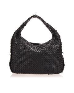 Bottega Veneta Intrecciato Leather Hobo Bag Black