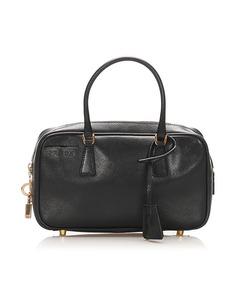 Prada Saffiano Bauletto Handbag Black