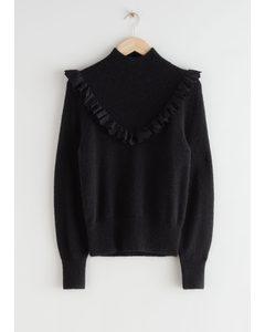 Ruffled Turtleneck Knit Sweater Black