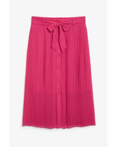 Pleated Midi Skirt Fun Fuchsia