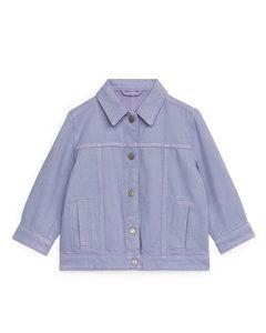 Jeansjacke aus Baumwolle und Lyocell Flieder