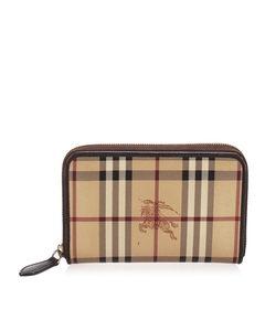 Burberry Haymarket Check Canvas Long Wallet Brown