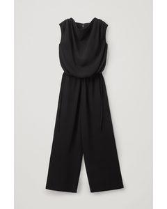 Cowl Neck Wide-leg Jumpsuit Black