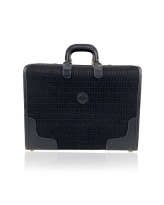 Fendi Vintage Black Monogram Canvas Travel Overnight Bag