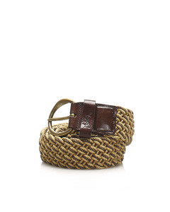 Ysl Raffia Belt Brown