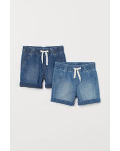 2er-Pack Jeansshorts Blau