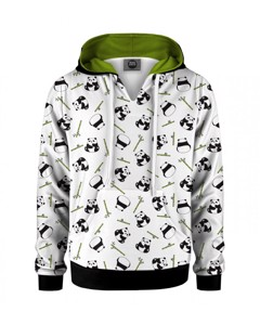 Mr. Gugu & Miss Go Rolling Pandas Kids Hoodie Kangaro Smooth White