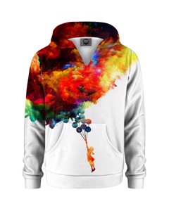 Mr. Gugu & Miss Go With Balloons To Galaxy Kids Hoodie Space White