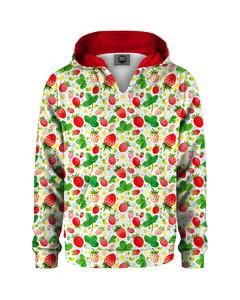 Mr. Gugu & Miss Go Strawberries Pattern Kids Hoodie Kangaro Garden Green