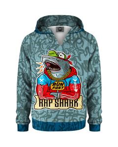 Mr. Gugu & Miss Go Rap Shark Kids Hoodie Light Blue