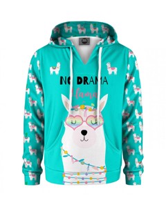 Mr. Gugu & Miss Go No Drama Llama Kids Hoodie Cartoon Teal