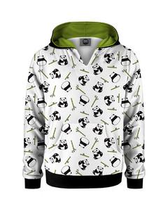 Mr. Gugu & Miss Go Rolling Pandas Kids Hoodie Kangaro Smooth White