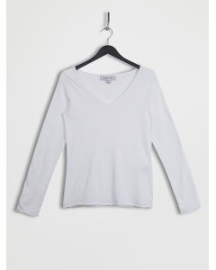 Roll Hem Long Sleeve Top White