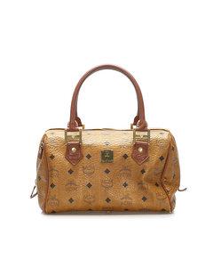 Mcm Visetos Leather Boston Bag Brown
