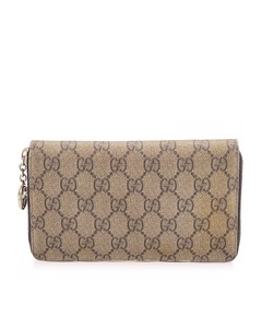 Gucci Gg Supreme Zip Around Long Wallet Brown