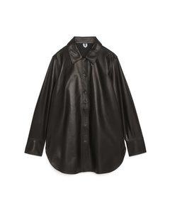 Overshirt aus Leder Schwarz