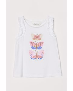 Tanktop Met Volants Wit/vlinders
