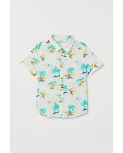 Gemustertes Baumwollhemd Naturweiß/Palmen