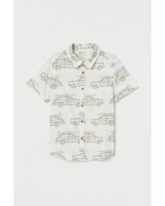 Katoenen Overhemd Met Dessin Gebroken Wit/auto's