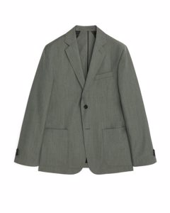 Casual Blazer Wool Linen Khaki Green