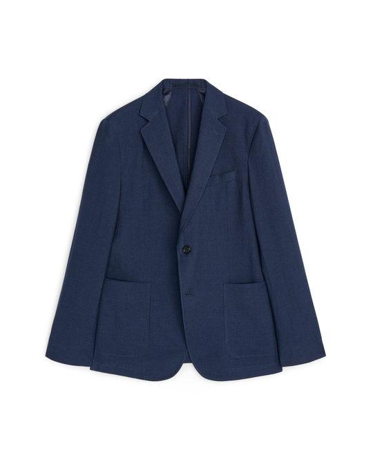 Arket Casual Blazer Wool Linen Dark Blue