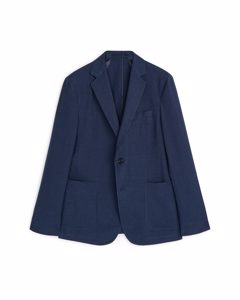 Casual Blazer Wool Linen Dark Blue